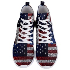 American Flag In Glitter Graphic Men s Lightweight High Top Sneakers by bloomingvinedesign