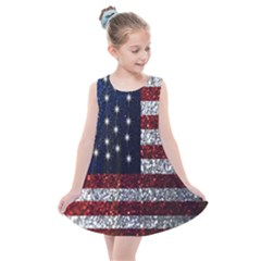 American Flag In Glitter Graphic Kids  Summer Dress
