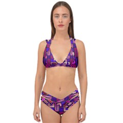 Pink Celtic Knot Square Double Strap Halter Bikini Set