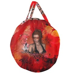 The Fairy Of Music Giant Round Zipper Tote by FantasyWorld7