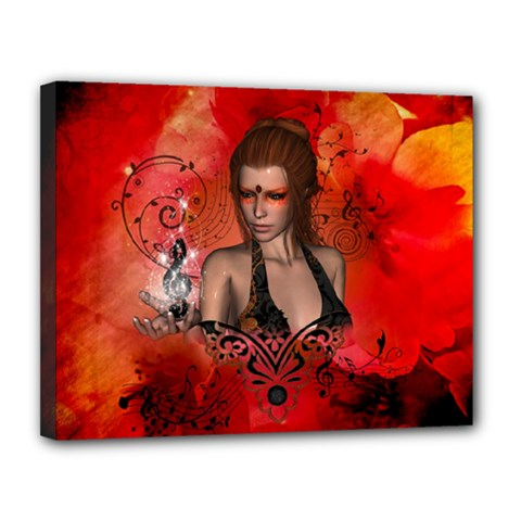 The Fairy Of Music Canvas 14  X 11  (stretched) by FantasyWorld7