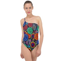 Colorful Lollipops Classic One Shoulder Swimsuit