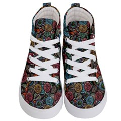 Glitter Graphic Lollipops Collage Kid s Hi Top Skate Sneakers