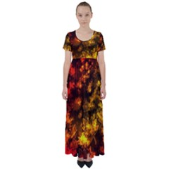 Fall Leaves In Bokeh Lights High Waist Short Sleeve Maxi Dress by bloomingvinedesign