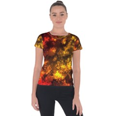 Fall Leaves In Bokeh Lights Short Sleeve Sports Top  by bloomingvinedesign