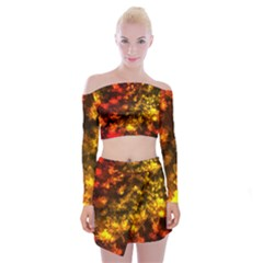Fall Leaves In Bokeh Lights Off Shoulder Top With Mini Skirt Set by bloomingvinedesign