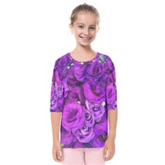Purple Lisianthus Flowers Kids  Quarter Sleeve Raglan Tee
