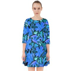 Blue Fall Leaves Smock Dress