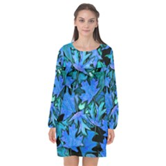Blue Fall Leaves Long Sleeve Chiffon Shift Dress  by bloomingvinedesign