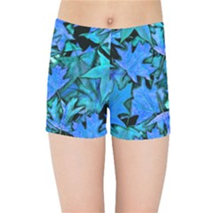 Blue Fall Leaves Kids Sports Shorts