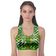 Green Celtic Knot Square Sports Bra by bloomingvinedesign