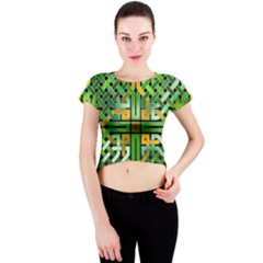 Green Celtic Knot Square Crew Neck Crop Top by bloomingvinedesign