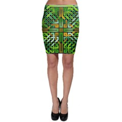 Green Celtic Knot Square Bodycon Skirt by bloomingvinedesign
