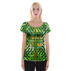 Green Celtic Knot Square Cap Sleeve Top by bloomingvinedesign