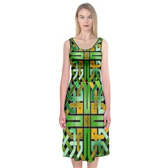 Green Celtic Knot Square Midi Sleeveless Dress by bloomingvinedesign