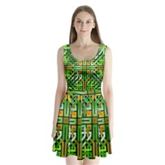 Green Celtic Knot Square Split Back Mini Dress  by bloomingvinedesign