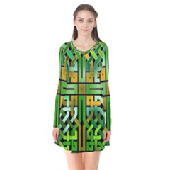 Green Celtic Knot Square Long Sleeve V Neck Flare Dress by bloomingvinedesign