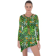 Green Celtic Knot Square Asymmetric Cut Out Shift Dress by bloomingvinedesign