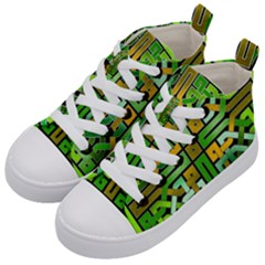 Green Celtic Knot Square Kid s Mid Top Canvas Sneakers by bloomingvinedesign