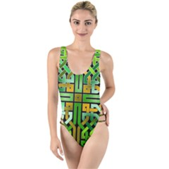 Green Celtic Knot Square High Leg Strappy Swimsuit