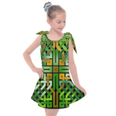 Green Celtic Knot Square Kids  Tie Up Tunic Dress by bloomingvinedesign