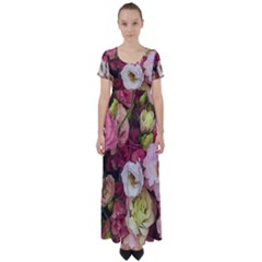 Pink Lisianthus Flowers High Waist Short Sleeve Maxi Dress