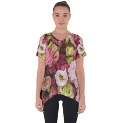 Pink Lisianthus Flowers Cut Out Side Drop Tee