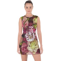 Pink Lisianthus Flowers Lace Up Front Bodycon Dress