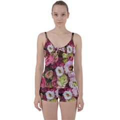 Pink Lisianthus Flowers Tie Front Two Piece Tankini