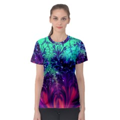 Bluegreen And Pink Fractal Women s Sport Mesh Tee by bloomingvinedesign