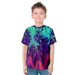 Bluegreen And Pink Fractal Kids  Cotton Tee by bloomingvinedesign