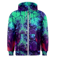 Bluegreen And Pink Fractal Men s Zipper Hoodie by bloomingvinedesign