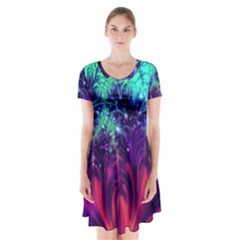 Bluegreen And Pink Fractal Short Sleeve V Neck Flare Dress by bloomingvinedesign