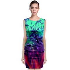Bluegreen And Pink Fractal Classic Sleeveless Midi Dress by bloomingvinedesign