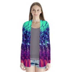 Bluegreen And Pink Fractal Drape Collar Cardigan by bloomingvinedesign
