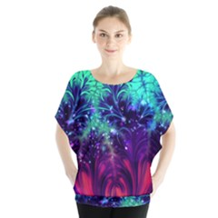 Bluegreen And Pink Fractal Blouse by bloomingvinedesign