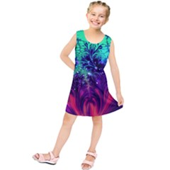 Bluegreen And Pink Fractal Kids  Tunic Dress by bloomingvinedesign