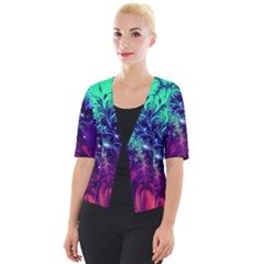 Bluegreen And Pink Fractal Cropped Button Cardigan by bloomingvinedesign