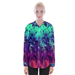 Bluegreen And Pink Fractal Womens Long Sleeve Shirt by bloomingvinedesign