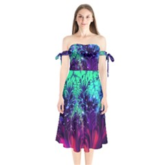 Bluegreen And Pink Fractal Shoulder Tie Bardot Midi Dress by bloomingvinedesign