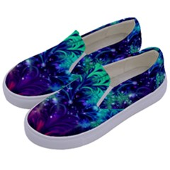 Bluegreen And Pink Fractal Kids  Canvas Slip Ons by bloomingvinedesign