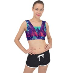 Bluegreen And Pink Fractal V Back Sports Bra by bloomingvinedesign