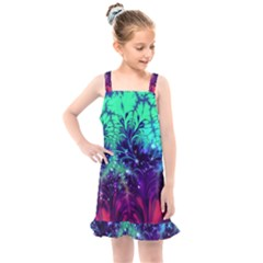 Bluegreen And Pink Fractal Kids  Overall Dress