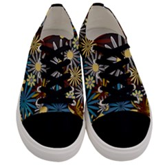 Earthy Daisies Collage Men s Low Top Canvas Sneakers