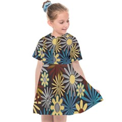 Earthy Daisies Collage Kids  Sailor Dress