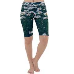 White Daisy Field Cropped Leggings  by bloomingvinedesign