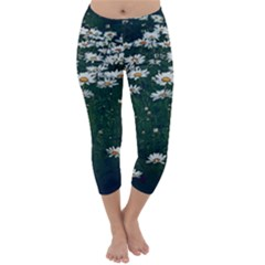 White Daisy Field Capri Winter Leggings