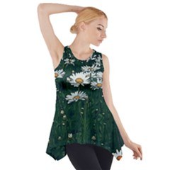 White Daisy Field Side Drop Tank Tunic by bloomingvinedesign