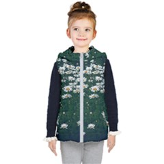 White Daisy Field Kid s Hooded Puffer Vest by bloomingvinedesign