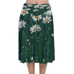 White Daisy Field Velvet Flared Midi Skirt by bloomingvinedesign